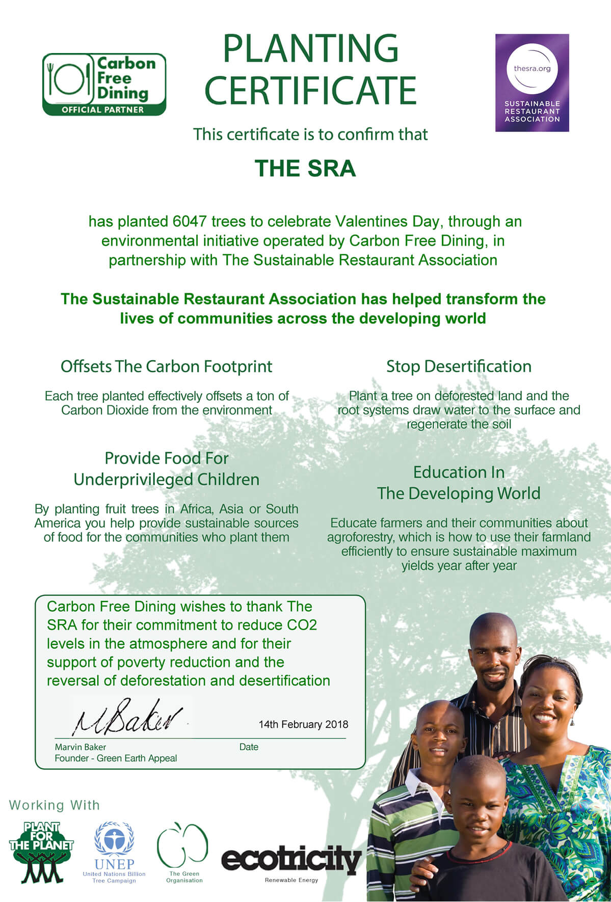 Carbon Free Dining - Certificat de plantation d'arbres par la Sustainable Restaurant Association