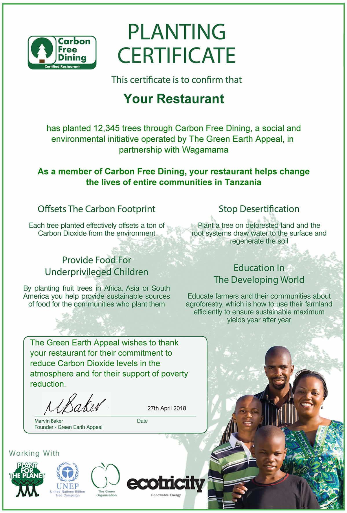 Carbon Free Dining - Example Certificate