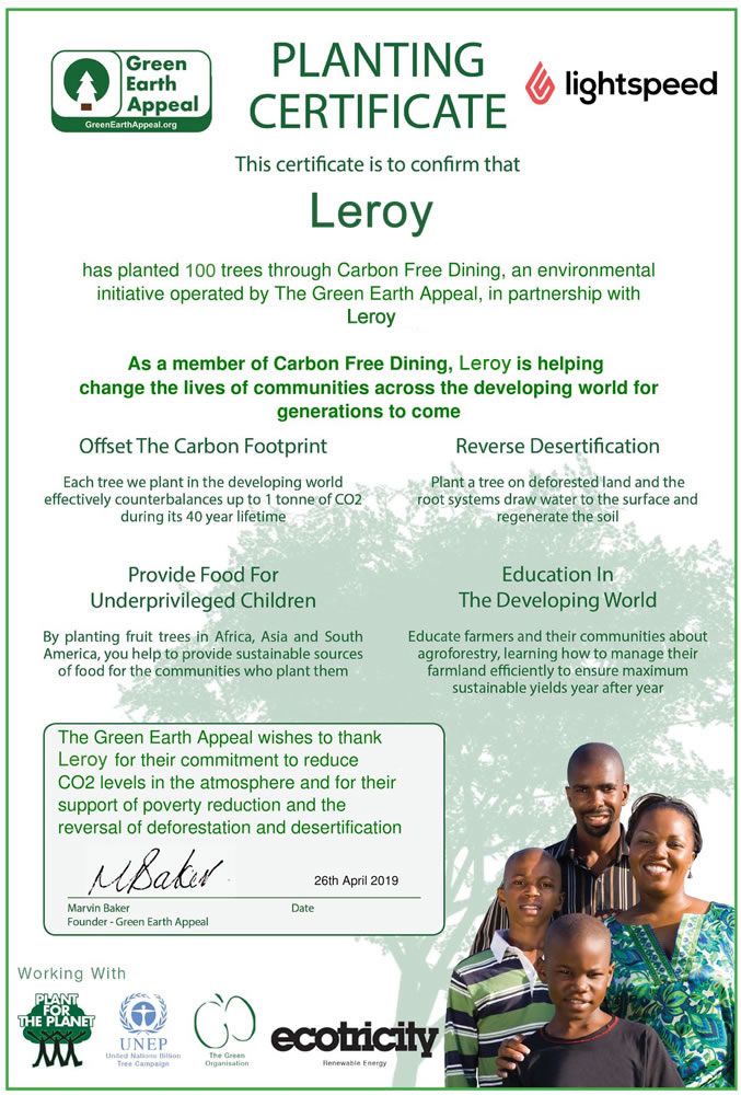 carbon-free-dining-certificate-leroy