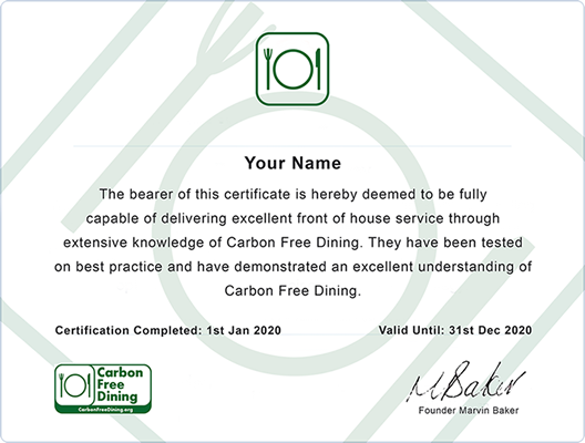 Carbon Free Dining - Front of House Certificate